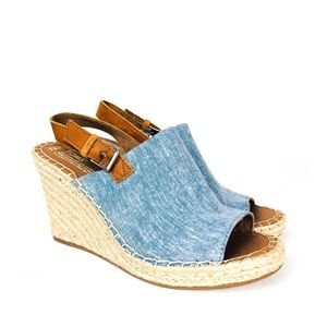 TOMS Monica Chambray Slingback Espadrille Wedge
